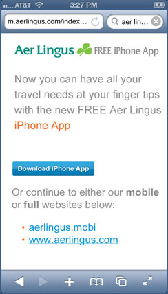 Aer Lingus mobile site
