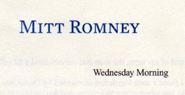Mitt Romney's letter