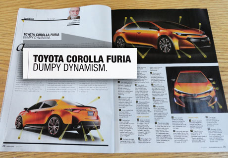 automobile magazine spread