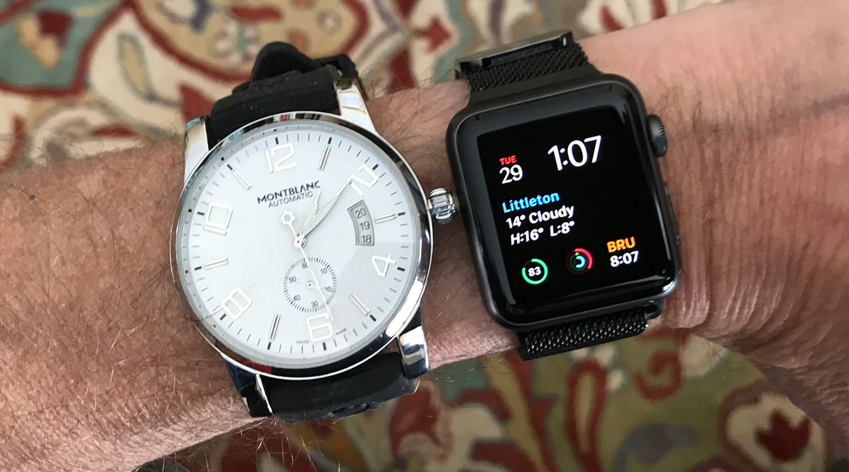 analog watch and apple watch